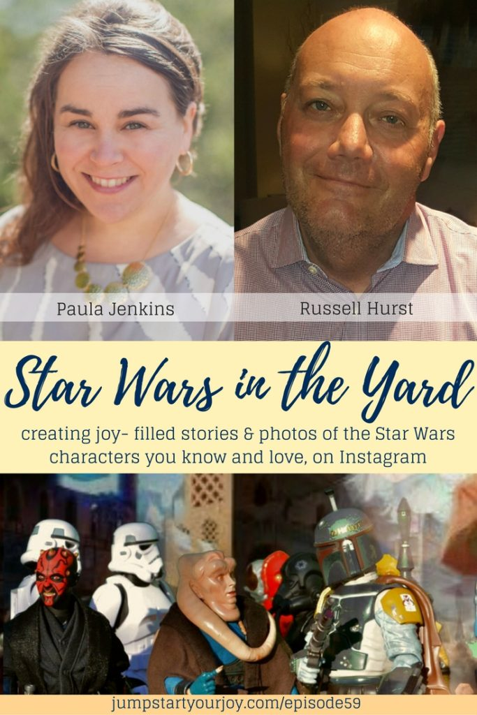 An interview with the creator of the Star Wars in the Yard Instagram account. He talks about how he creates the toy photography and stories that make the account so joyful and happy. Click to listen, Pin to save. www.jumpstartyourjoy.com