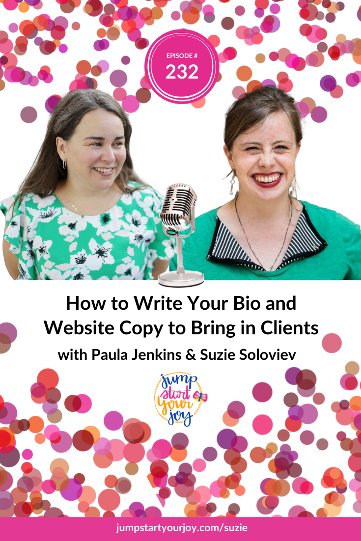 In this episode, host Paula Jenkins talks to Suzie Soloviev of Your Sacred Record about how you can have more fun and more joy in your marketing. #podcast #entrepreneur #joy